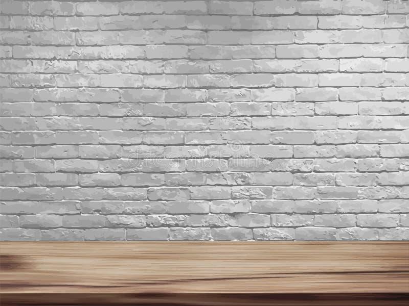 Vector leere Spitze des natürlichen Holztischs und des Retro- weißen Backsteinmauerhintergrundes vektor abbildung