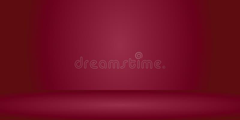 Vector leeren orange rote Farbstudioraumhintergrund, Schablonenspott oben für Anzeige oder Montage des Produktes, Geschäft stock abbildung