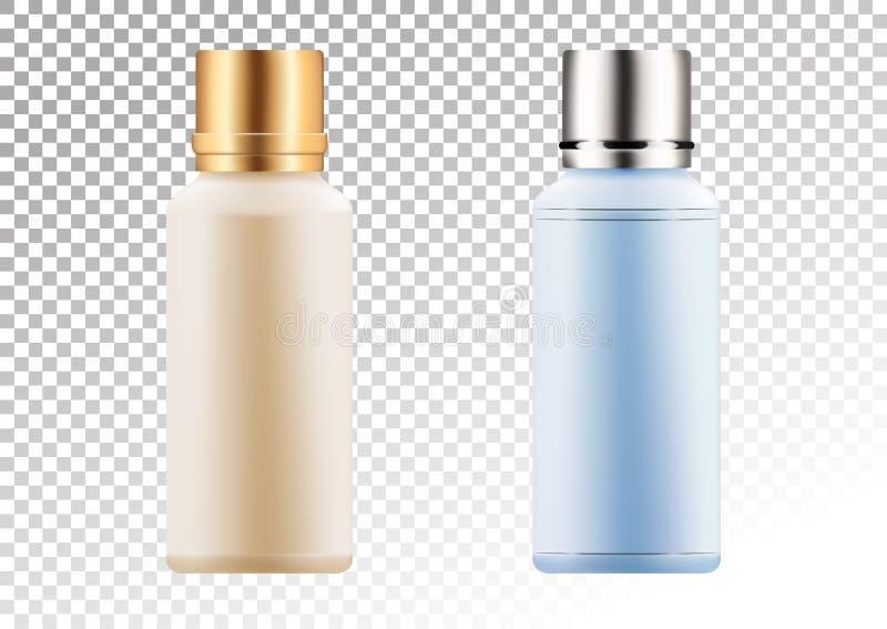 Vector leeres Gold und rosa Paket für kosmetische Produkte Rohr und Flasche für Lotion, Duschgel, Shampoo, Stärkungsmittel stock abbildung