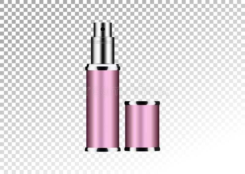 Vector leeres rosa Paket für kosmetische Produkte Rohr und Parfüm flacon, Flasche für desodorierendes Mittel, Haarspray Realistis stock abbildung