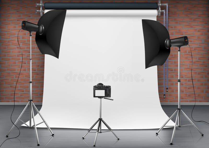 Vector lege fotostudio met verlichtingsmateriaal royalty-vrije illustratie