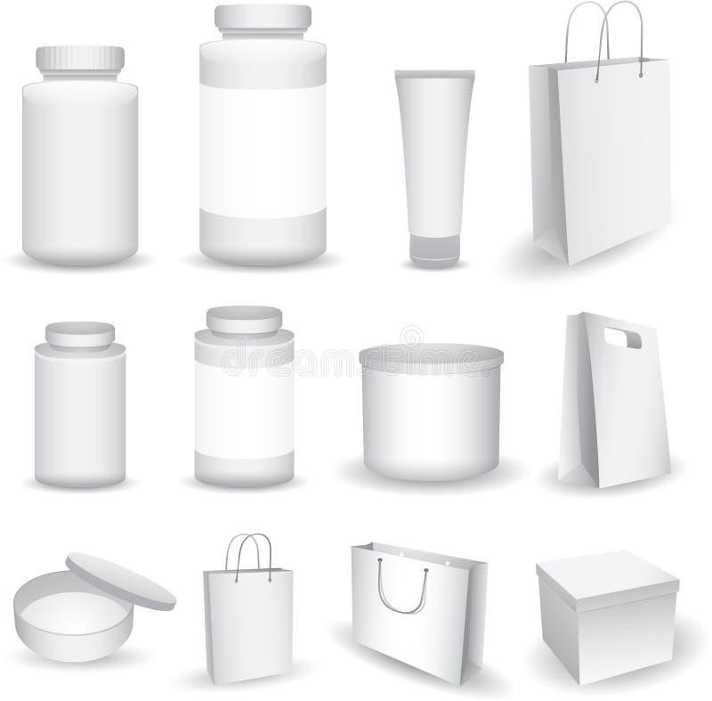 Vector Lege Grote Reeks Plastic Verpakkende Flessen, met GLB voor Schoonheidsmiddelen, Vitaminen, Pillen of Capsules, dozen en za royalty-vrije illustratie
