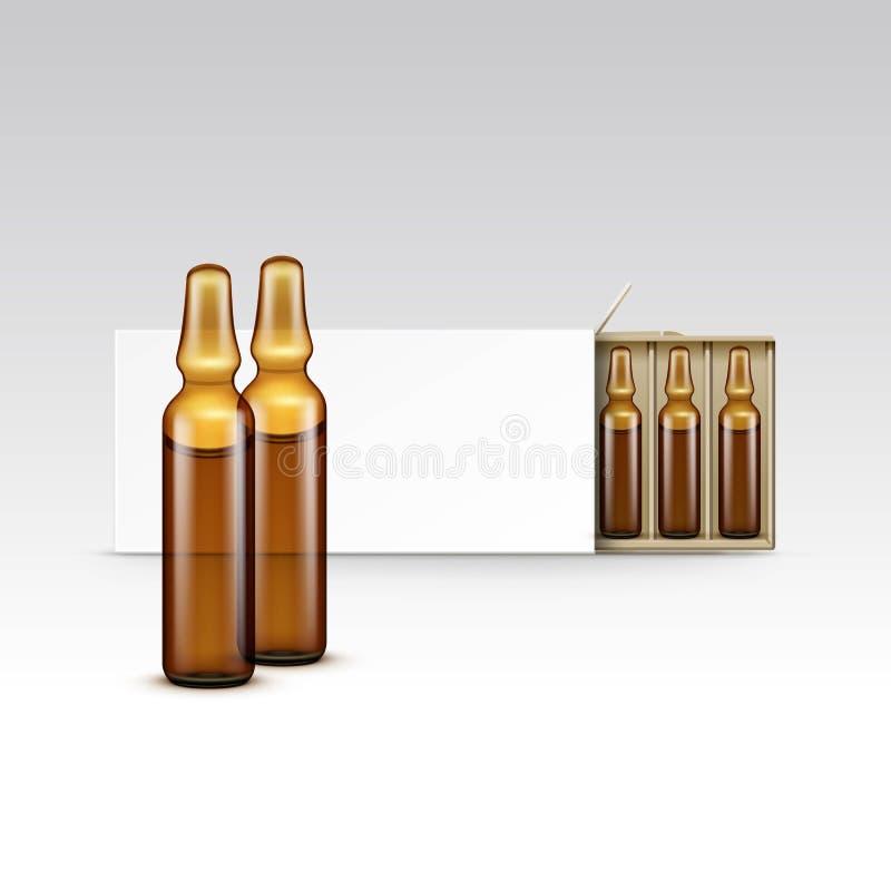 Vector Lege Verpakkende Doos voor Geïsoleerde Ampullen stock illustratie