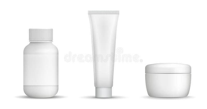 Vector lege witte containers voor schoonheid of gezondheidsproducten met vector illustratie