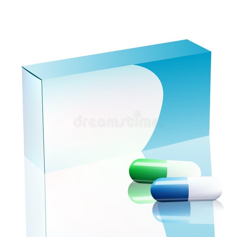 Vector Lege Witte die Pakketdoos voor Blaar van Pillen op Achtergrond worden geïsoleerd De Doosontwerp van het malplaatjepakket v royalty-vrije illustratie