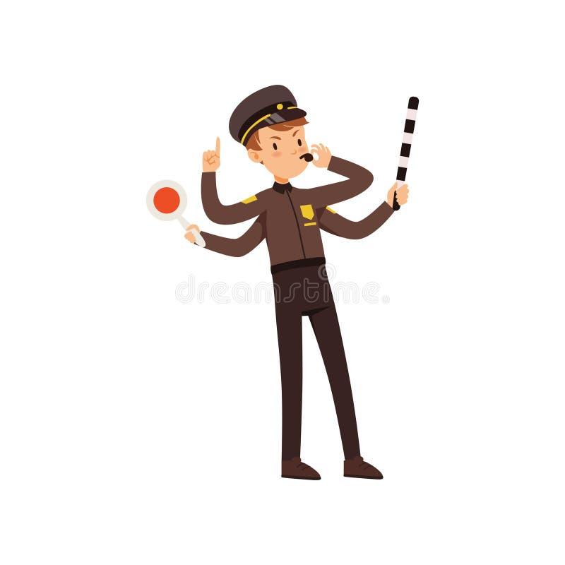 Vector Leitungsstraßenverkehr des Mehrprozeßpolizeibeamtecharakters, Polizist mit vielen Händen Illustration auf einem Weiß vektor abbildung