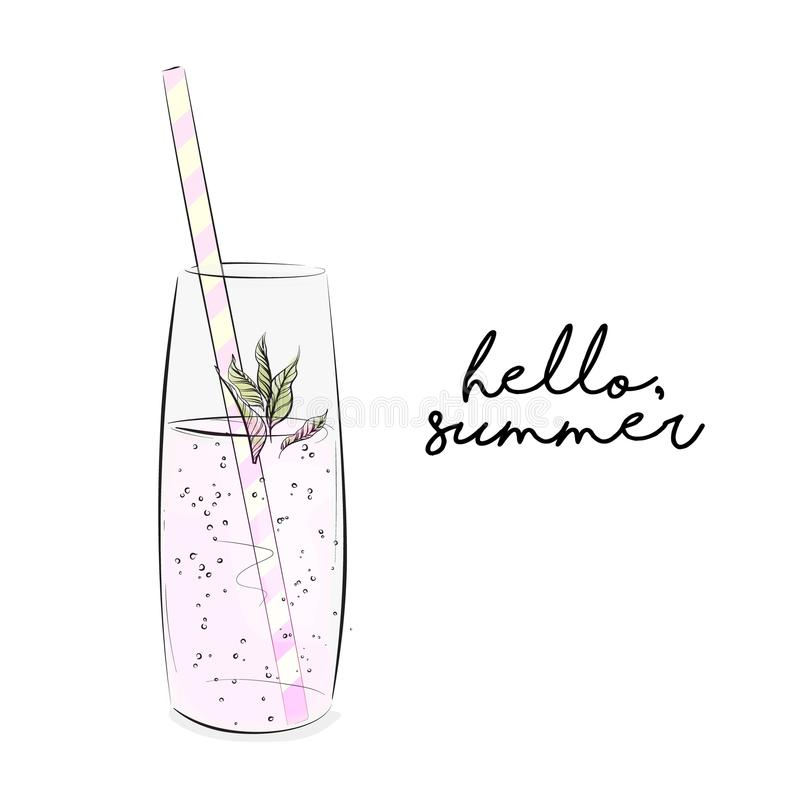 Vector lemonade illustration. Freshness sparkled liquid with mint. Cold summer refreshing drink . Rustic picknic. K cocktail royalty free illustration