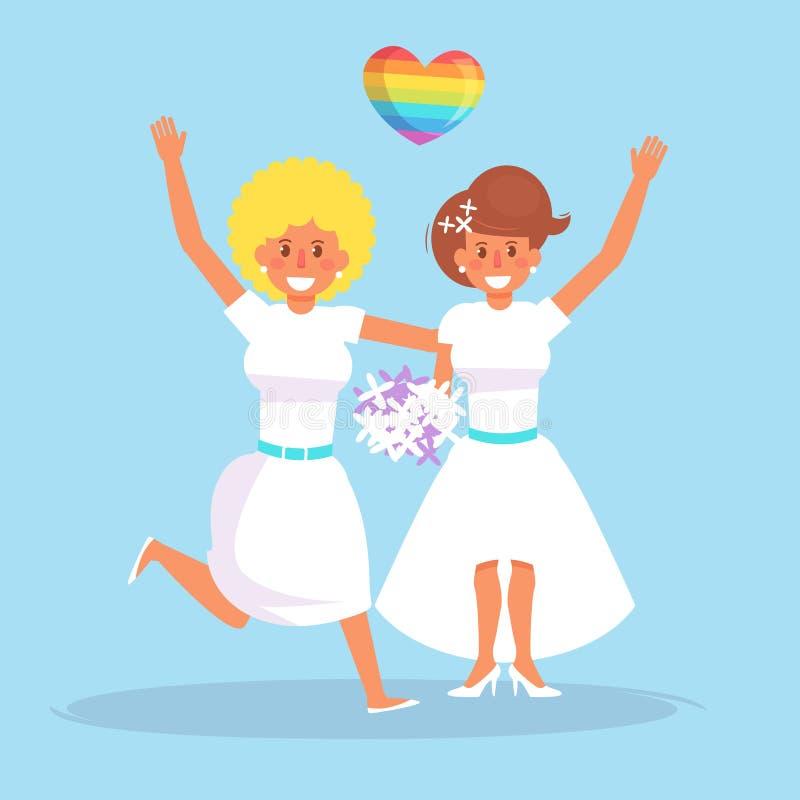Vector lesbiano de la boda stock de ilustración