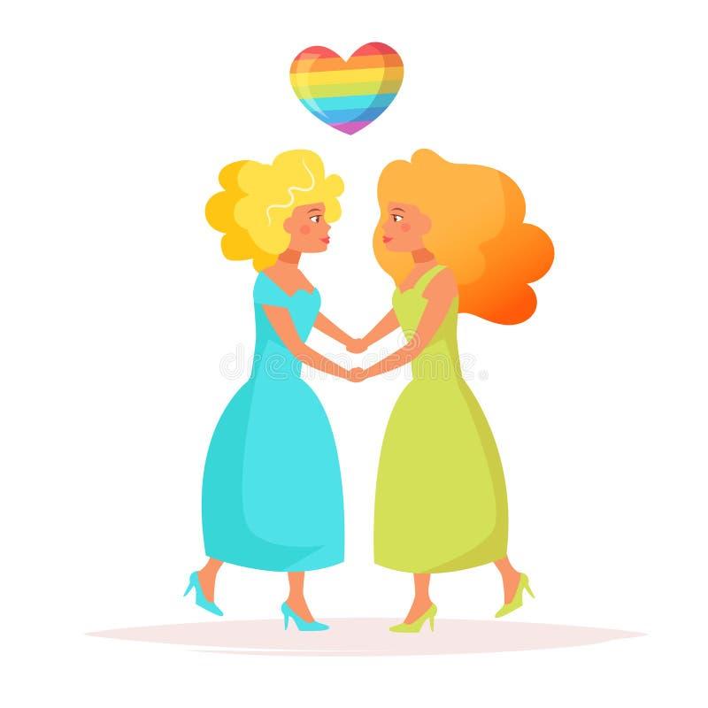 Vector lesbiano de los pares stock de ilustración