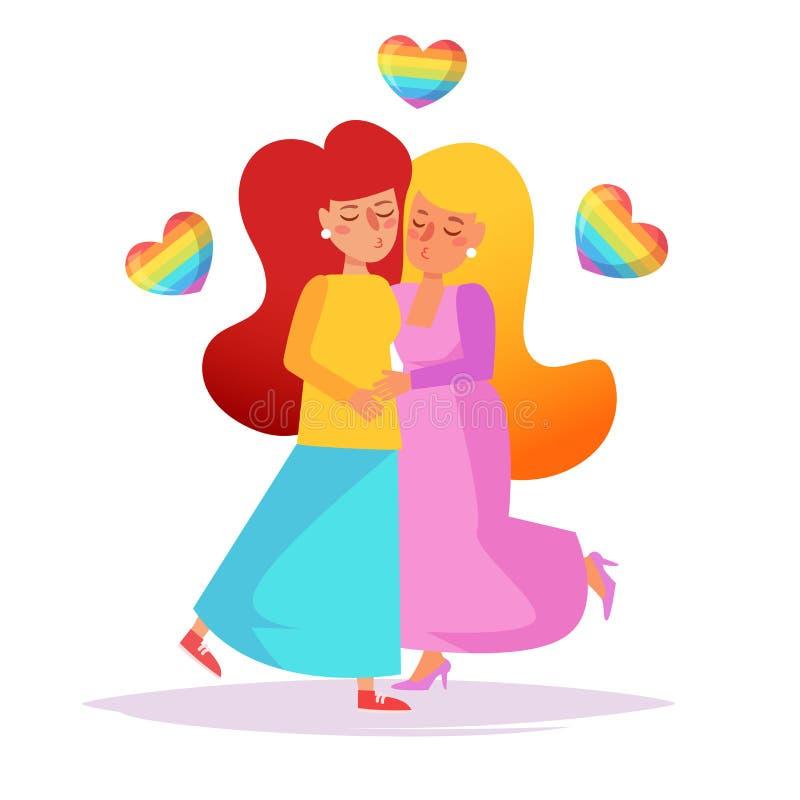 Vector lesbiano de los pares historieta ilustración del vector