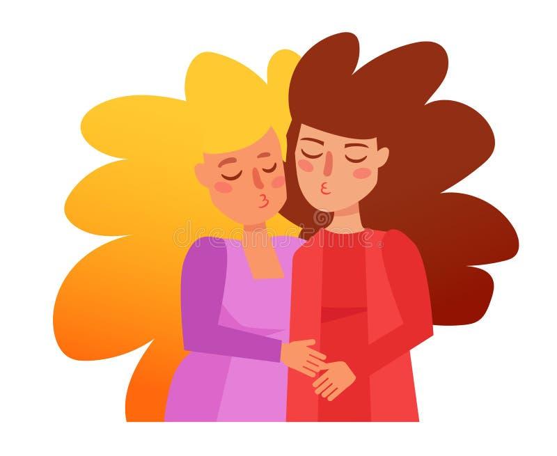 Vector lesbiano de los pares historieta stock de ilustración