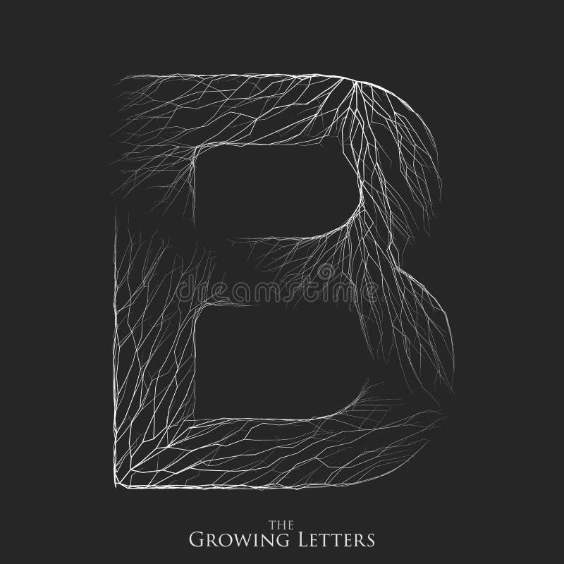 Vector a letra B do ramo ou de alfabeto rachado Símbolo de B que consiste crescendo as linhas brancas Letras fraturadas lighting ilustração royalty free