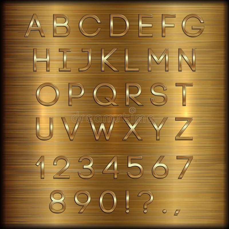 Vector letras, dígitos e a pontuação revestidos dourados do alfabeto no fundo escovado cobre ilustração do vetor