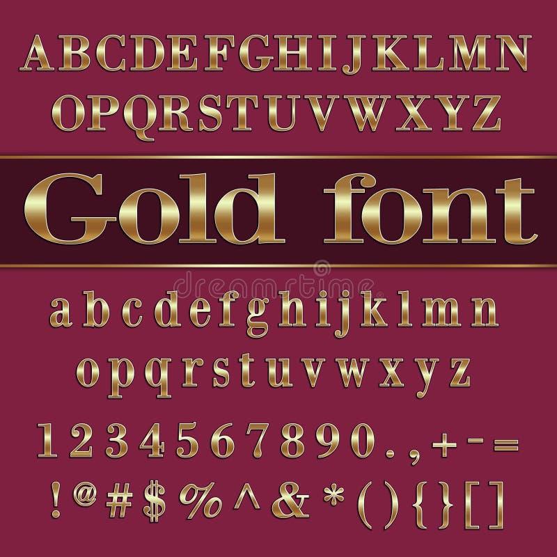 Vector letras e dígitos revestidos ouro do alfabeto sobre ilustração royalty free