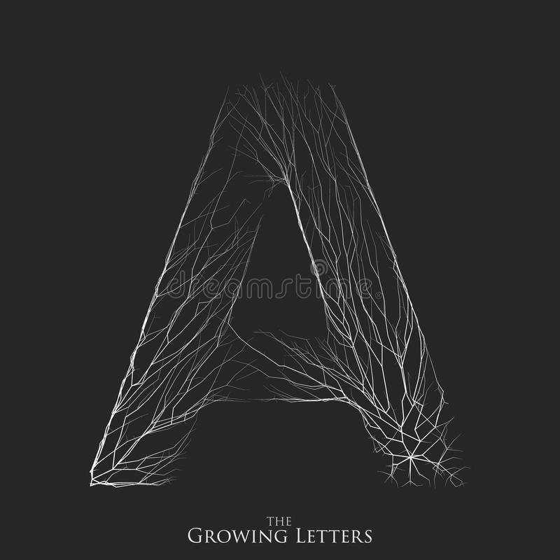 Vector letter A of branch or cracked alphabet. A symbol consisting of growing white lines. Fractured letters. Lighting stock illustration