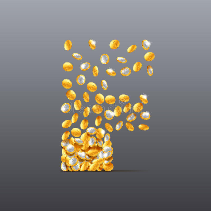 Vector letter F made of coins filling character. vector illustration