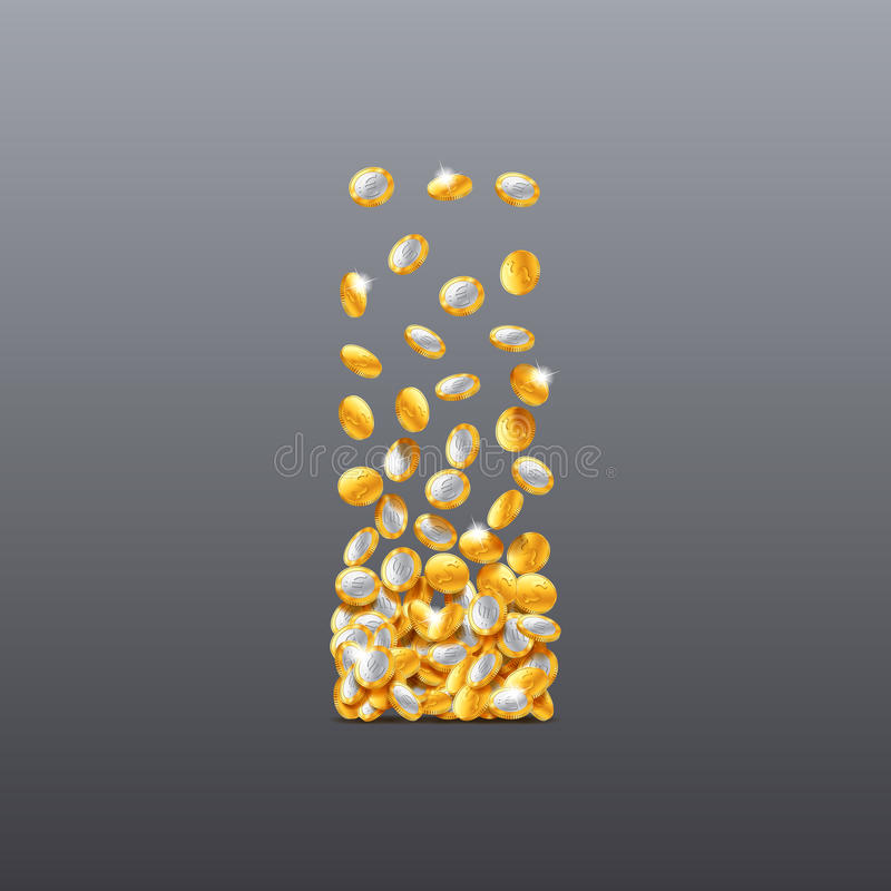 Vector letter I made of coins filling character. vector illustration