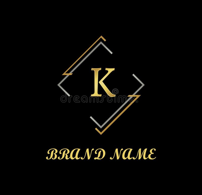 Vector of Letter K Logo, Company Logo, Luxury Logo, Golden Logo stock illustration