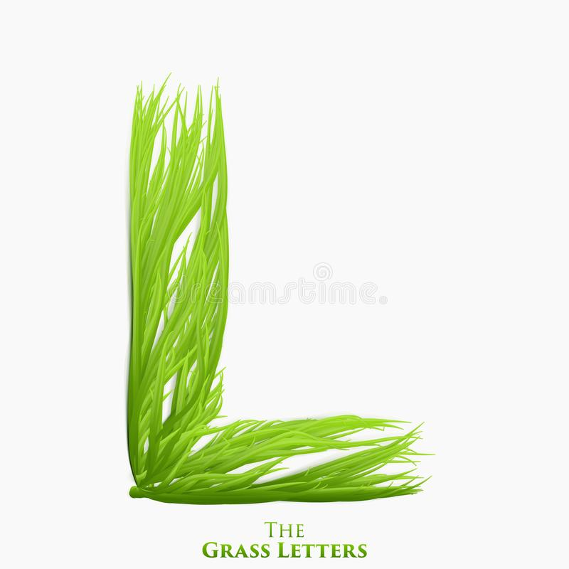 Vector letter L of juicy grass alphabet. Green L symbol consisting of growing grass. Realistic alphabet of organic vector illustration