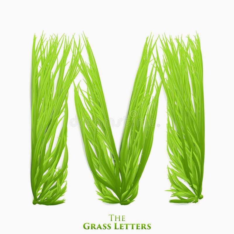 Vector letter M of juicy grass alphabet. Green M symbol consisting of growing grass. Realistic alphabet of organic royalty free illustration