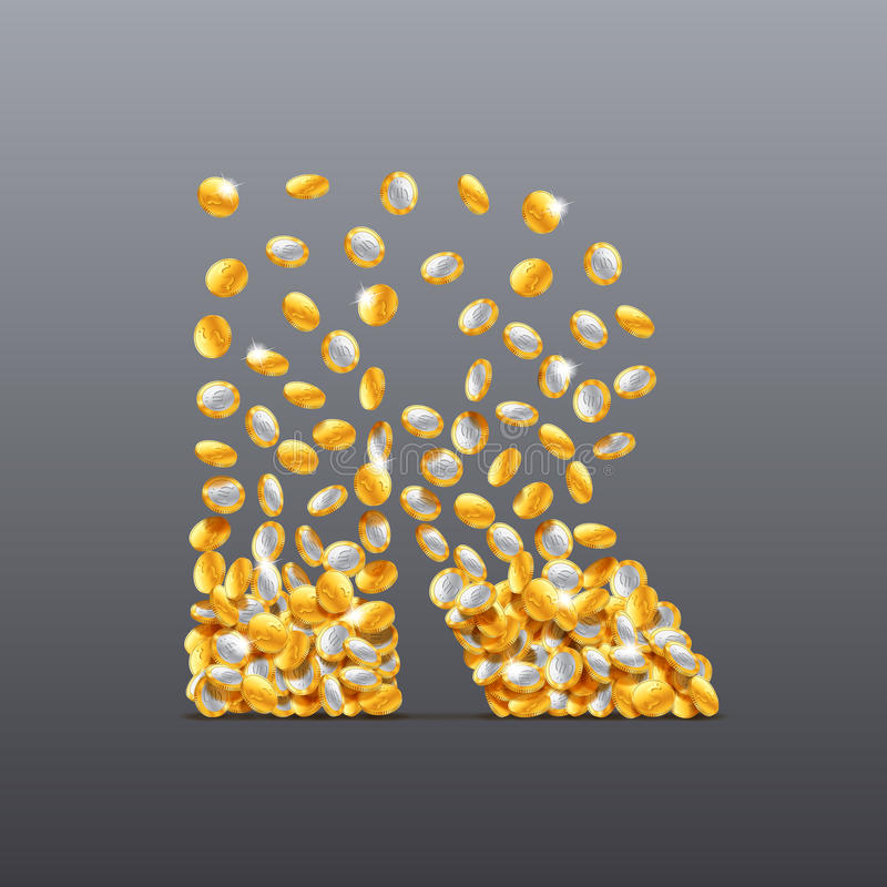 Vector letter R made of coins filling character. royalty free illustration