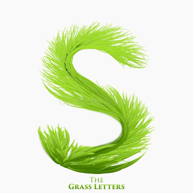 Vector letter S of juicy grass alphabet. Green S symbol consisting of growing grass. Realistic alphabet of organic stock illustration