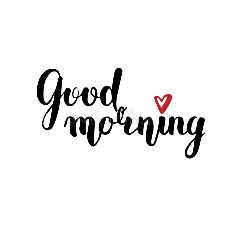 Vector lettering with a good morning. black text on white background. Above i the point of the red heart. Handwritten calligraphy royalty free illustration