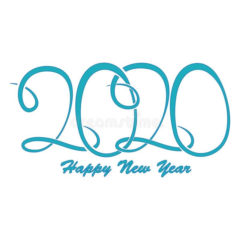 Vector lettering 2020 Happy New Year with turquoise color with purple stroke. Blank for greeting card lettering 2020 in stock illustration