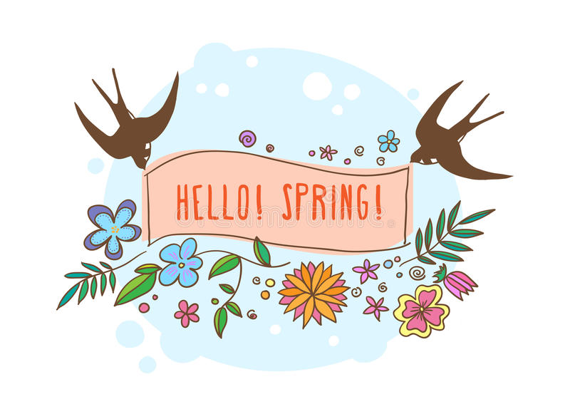 Vector lettering Hello spring with decorative flower elements on white and blue background, hand drawn flowers and birds royalty free illustration