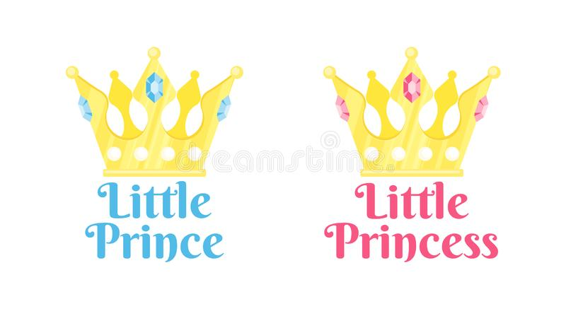 Vector lettering illustration with crown. Shower card element. Newborn baby girl and boy. Little Princess and Little prince poster stock illustration