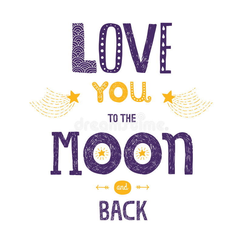 Free Vector Lettering Love You To Yhe Moon And Back Royalty Free Stock Photos - 51022638