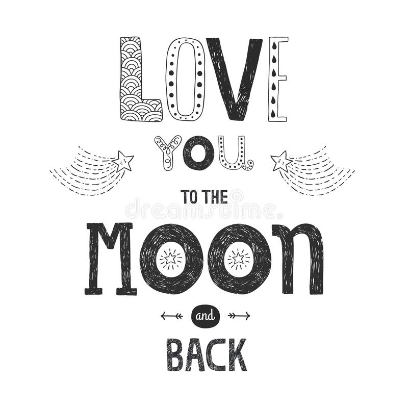 Free Vector Lettering Love You To Yhe Moon And Back Stock Images - 51022684
