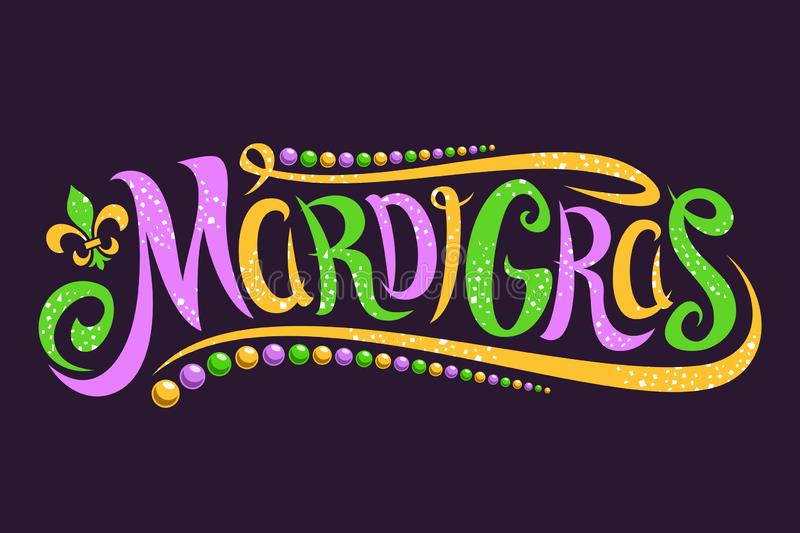 Vector lettering for Mardi Gras royalty free stock photo