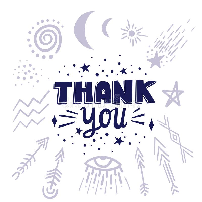 Vector lettering THANK YOU with cosmic symbols.  royalty free illustration