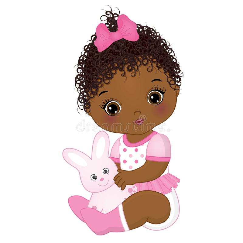 Vector Leuk Afrikaans Amerikaans Babymeisje met Toy Bunny stock illustratie