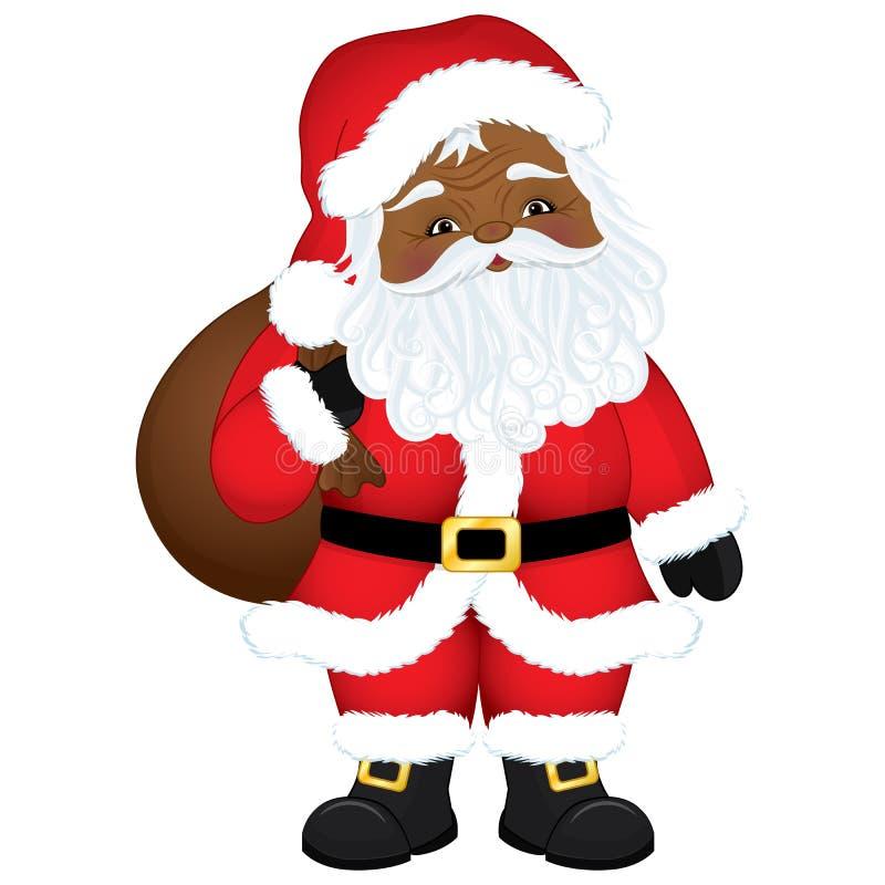Vector Leuk Beeldverhaal Afrikaanse Amerikaanse Santa Claus met Zak royalty-vrije illustratie