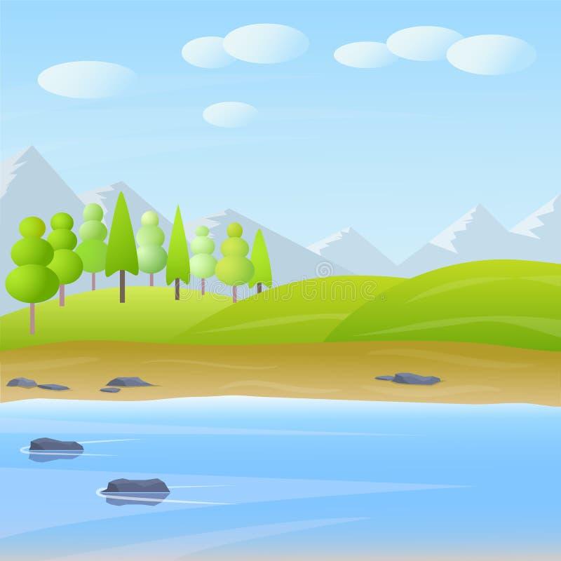 Vector leuk beeldverhaal vlak landschap met berg, bos, meer en wolkenillustratie vector illustratie