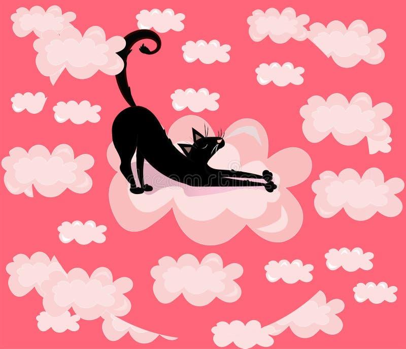 Vector leuk, grappig, beeldverhaalillustratie, druk met zwarte kat in de roze wolken vector illustratie