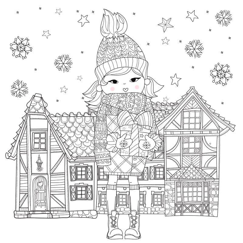 Vector leuk meisje in de winterhoed met Kerstmisgift royalty-vrije illustratie