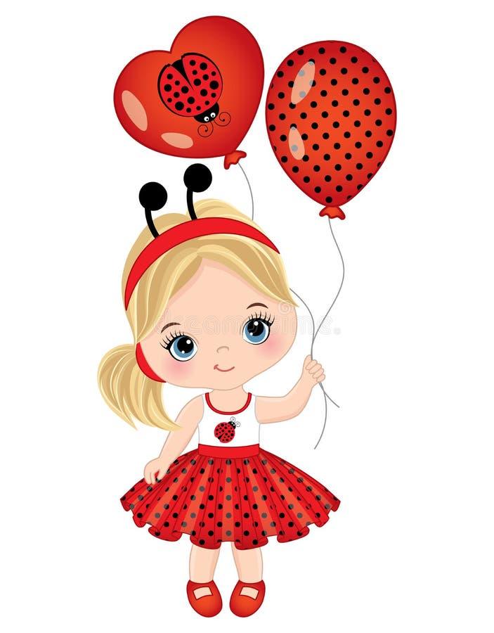 Vector Leuk Meisje met Ballons royalty-vrije illustratie