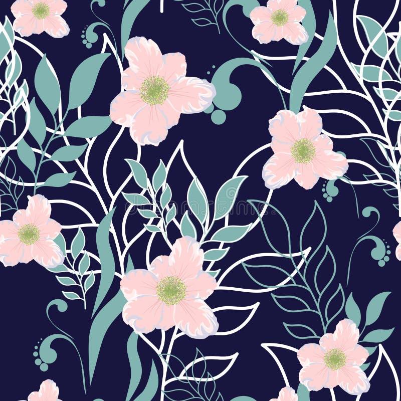 Vector leuk naadloos bladeren en bloemen de lentepatroon Grote reeks munt bloemenelementen en roze bloemen vector illustratie