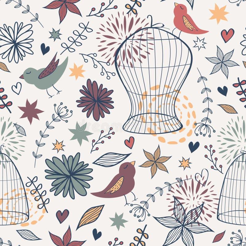 Vector leuk naadloos bloemenpatroon met vogels, kooien, bloemen, bladeren en harten vector illustratie