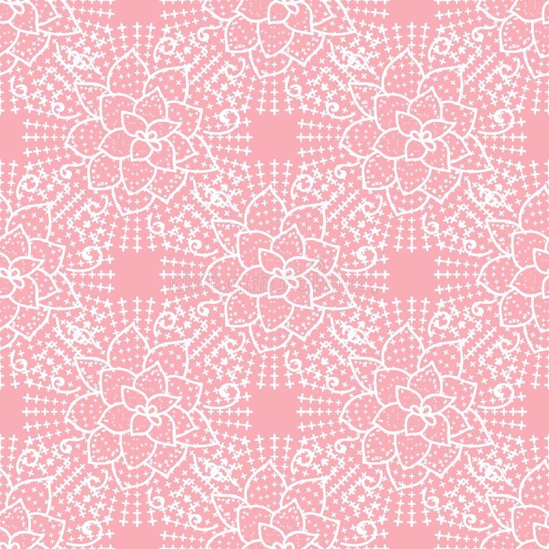 Vector leuk naadloos patroon Hand die wit bloemkant trekken op roze achtergrond stock illustratie