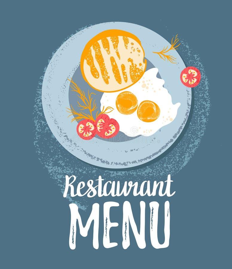 Vector leuk ontbijt: eieren, toostbrood, tomaten en dille op een plaat Vector kleurrijke grunge hipster illustraties vector illustratie
