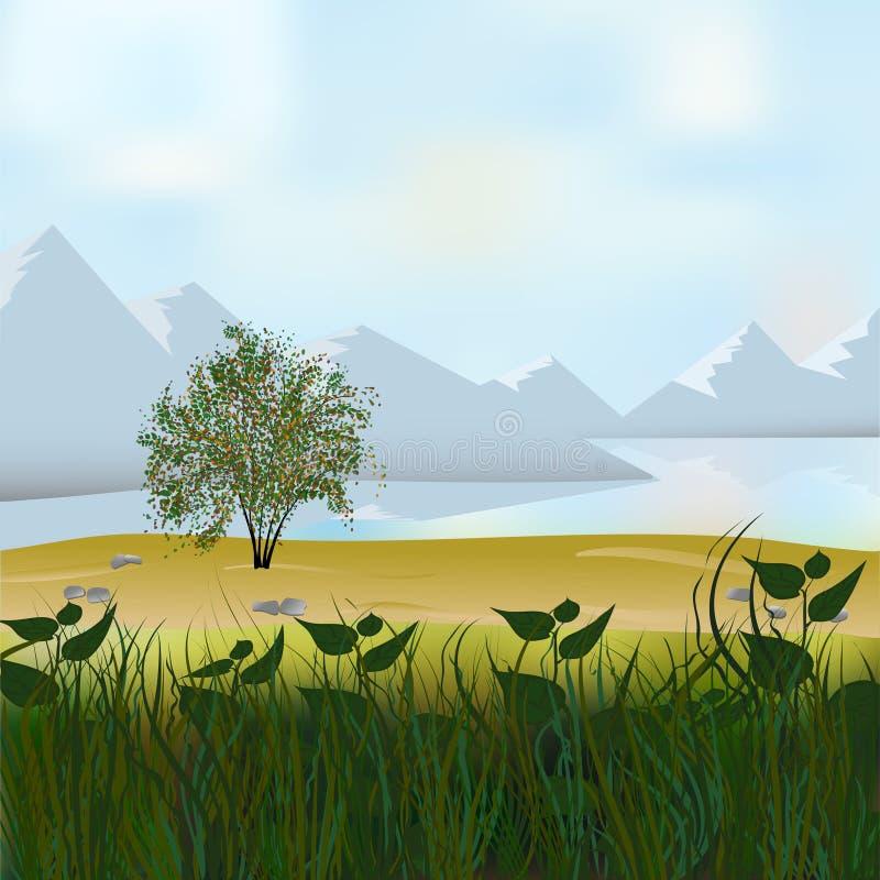 Vector leuk vlak landschap met berg, bos, meer en wolkenillustratie stock illustratie