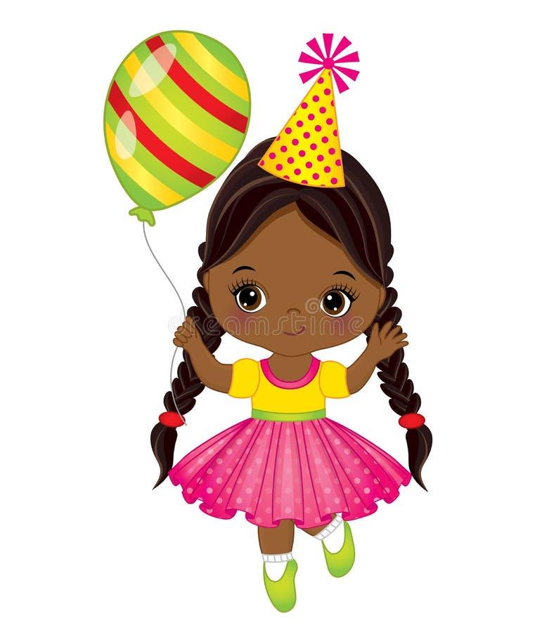 Vector Leuk Weinig Afrikaans Amerikaans Meisje met Ballon vector illustratie