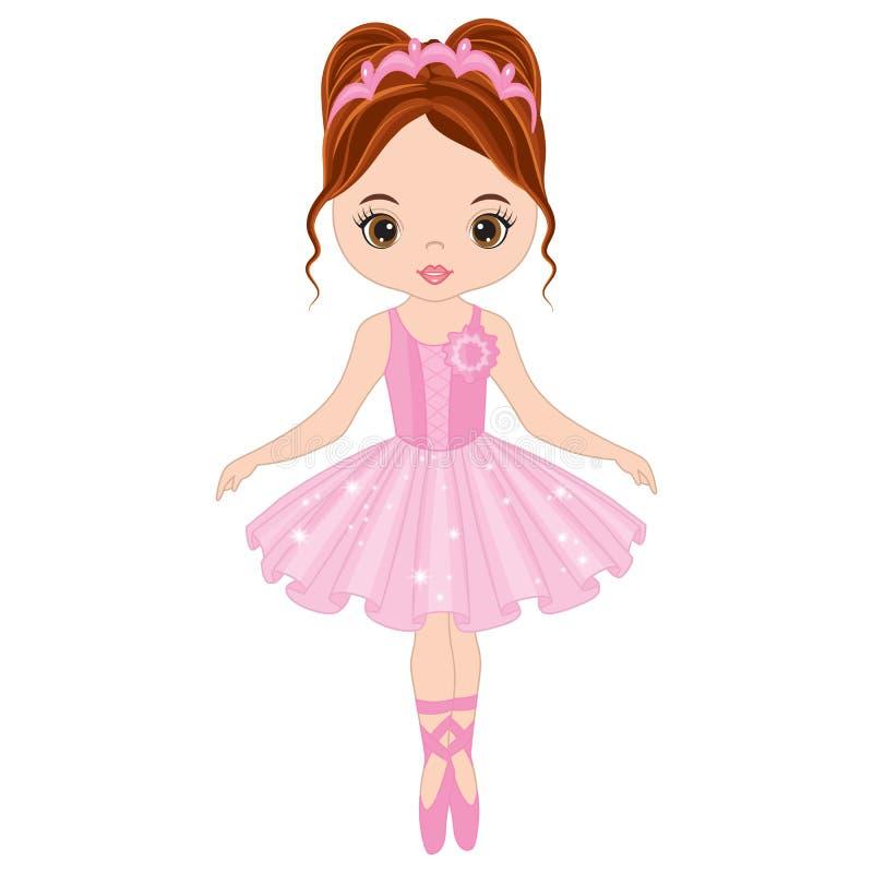 Vector Leuk Weinig Ballerina het Dansen royalty-vrije illustratie