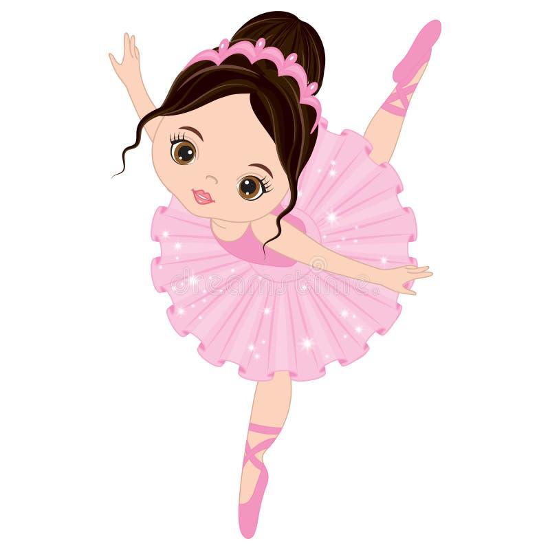 Vector Leuk Weinig Ballerina het Dansen vector illustratie