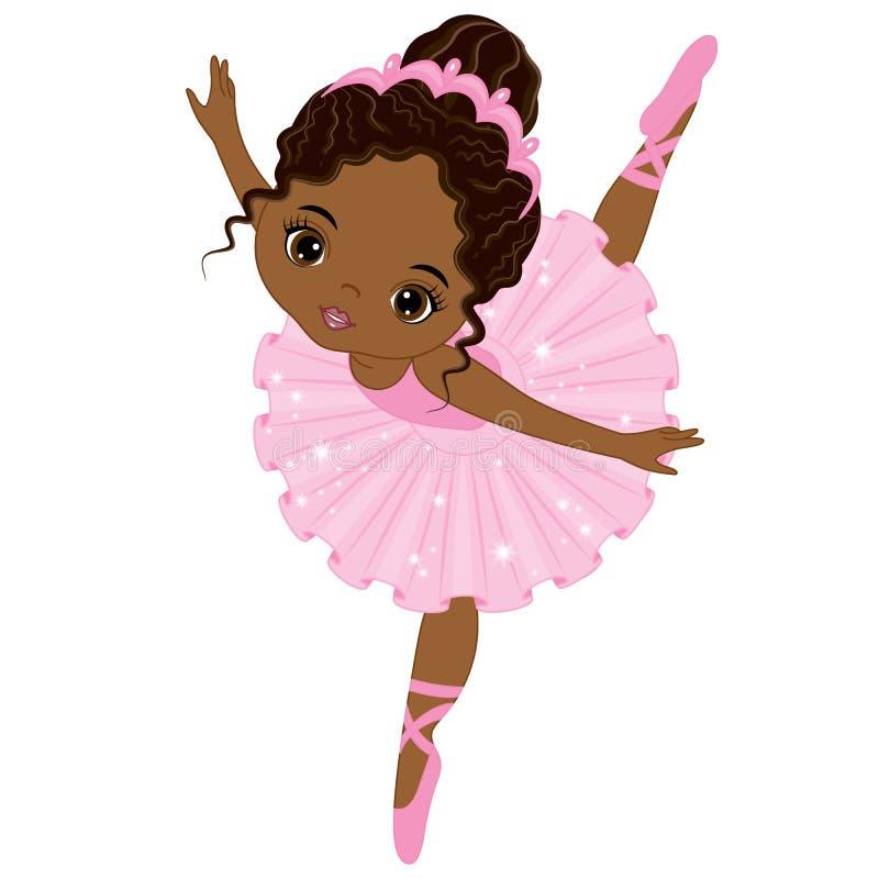 Vector Leuk Weinig het Afrikaanse Amerikaanse Ballerina Dansen vector illustratie