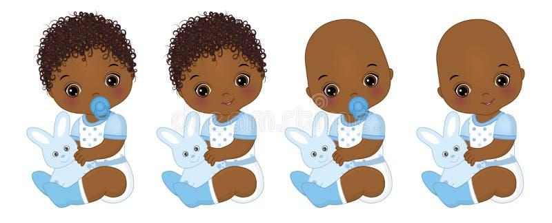 Vector Leuke Afrikaanse Amerikaanse Babyjongens met Konijntjes De vectordouche van de babyjongen vector illustratie
